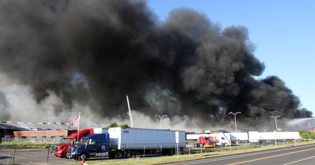 Smoke from New Jersey warehouse fire visible from space
