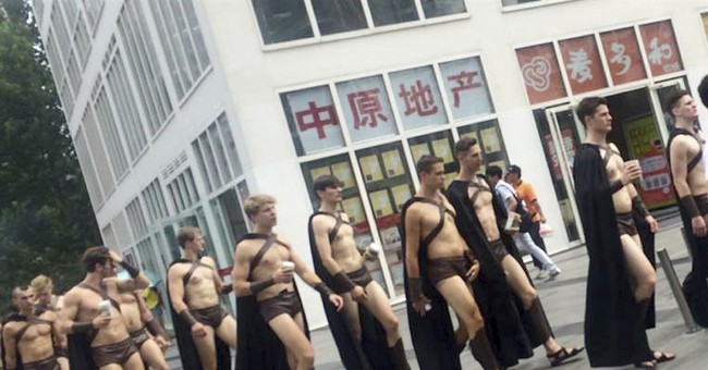 Half-naked 'Spartans' attract attention of Beijing police
