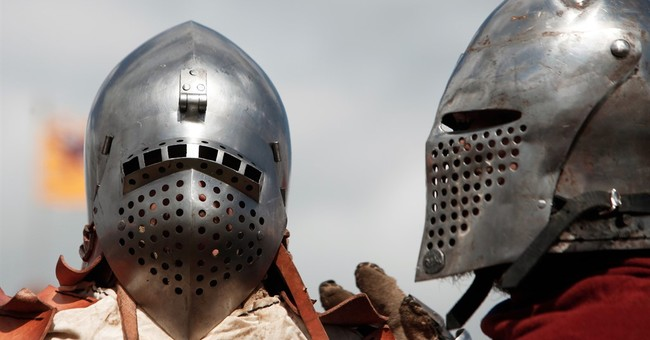 French host reenactment of 1415 Battle of Agincourt