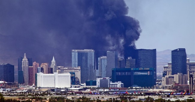 Pool fire at The Cosmopolitan fueled by fake palm trees