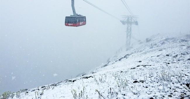 Summer snow turns Wyoming mountains into winter wonderland