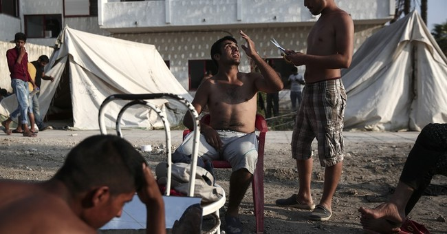 Tourist playground meets hectic refugee camp on Greek island