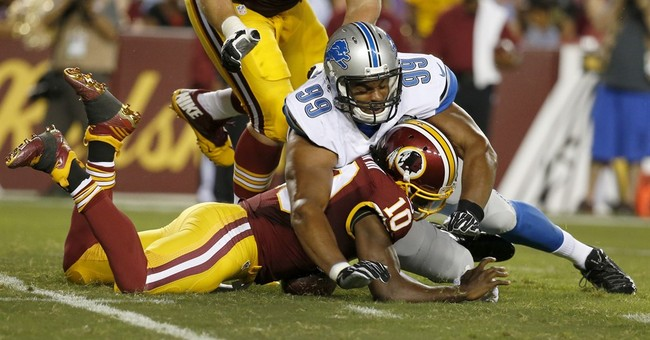 RG3 leaves with concussion in Redskins' 21-17 win over Lions
