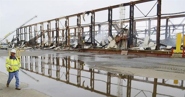 Massive warehouse fire at former Navy shipyard; no injuries