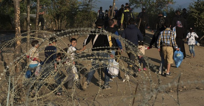 Exhausted migrants scuffle at Greek-Macedonian border
