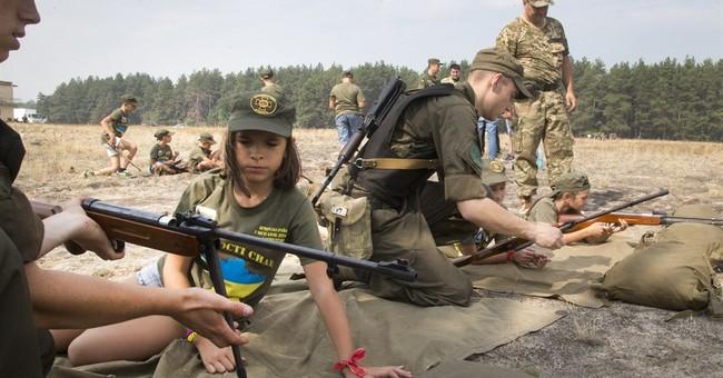 Ukrainian kids go to military camp