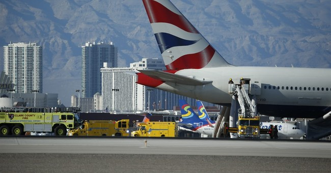 British Airways plane catches fire on Las Vegas runway