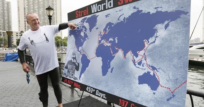 Swimmer has eyes on aquatic prize: to swim around the world