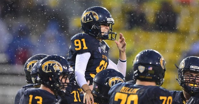 Female kicker makes extra point for Kent State