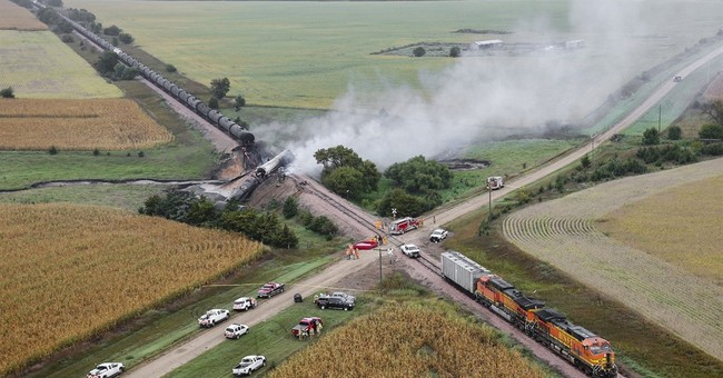 Investigators on scene where ethanol tankers derailed