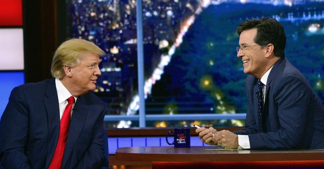Donald Trump plays straight man to host Stephen Colbert