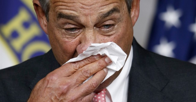 Boehner packing up his trademark hankies, merlot and Camels