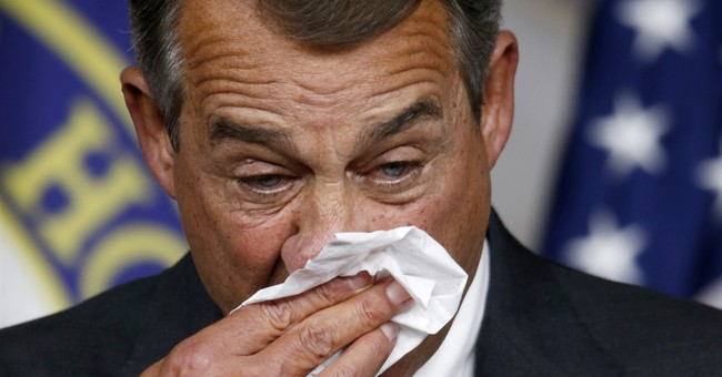 Boehner packing up his trademark hankies, merlot and Camels