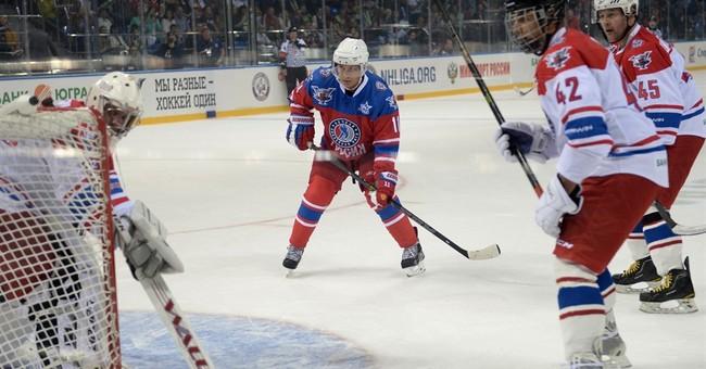 Putin spends his birthday playing hockey with NHL stars