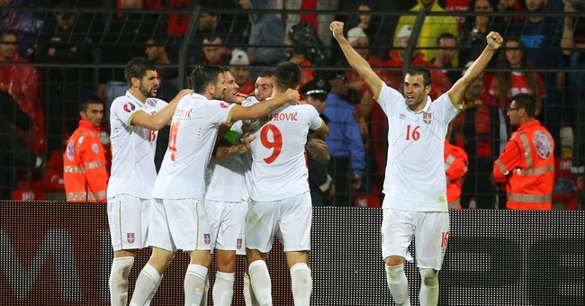 Serbia snatches 2-0 win in Albania in tense Euro qualifier
