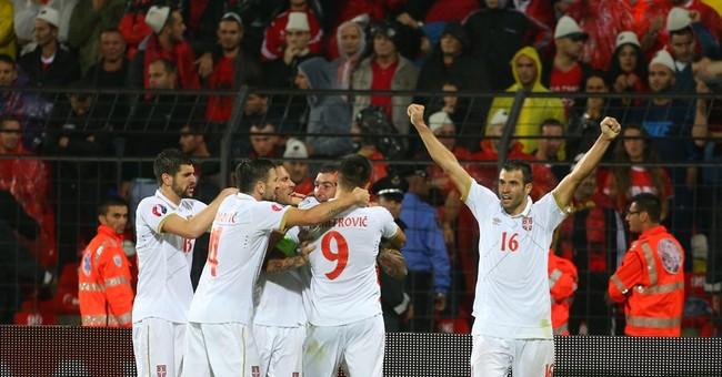 Serbia snatches 2-0 win in Albania in tense Euro qualifier