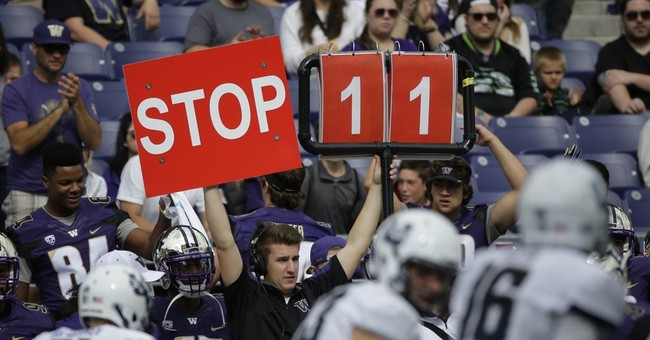 Funny photo boards used to call signals from sideline