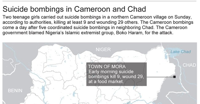 Boko Haram stages suicide bombings in Cameroon, Chad