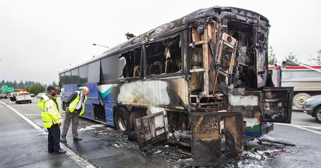 No one injured as bus goes up in flames; driver praised
