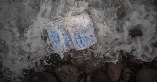 AP PHOTOS: Objects left on the beach by migrants on Lesbos