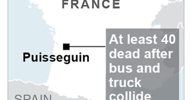 43 killed in fiery bus-truck collision in French wine region