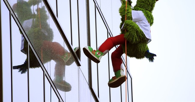 Phillie Phanatic, 76ers mascot rappel down city skyscraper