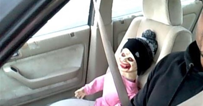 Creepy Halloween doll in carpool lane doesn't fool officer