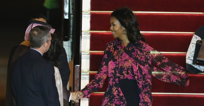 US first lady Michelle Obama arrives in Qatar for speech