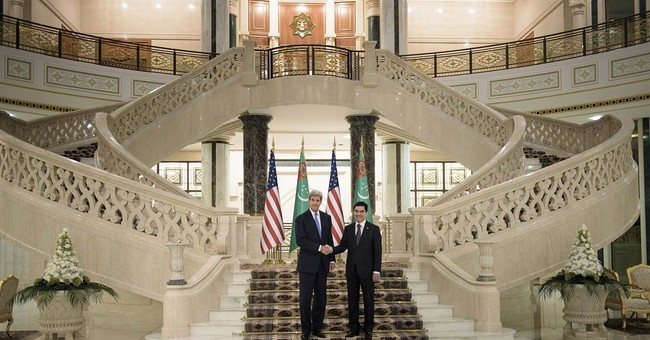 Kerry makes rare visit to rich, odd Turkmenistan
