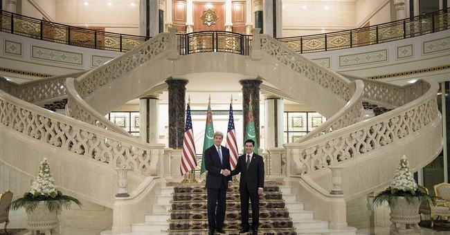 Kerry makes rare visit to rich, odd Turkmenistan