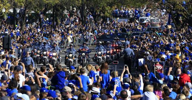 The Latest: Some parked along interstate before Royals rally