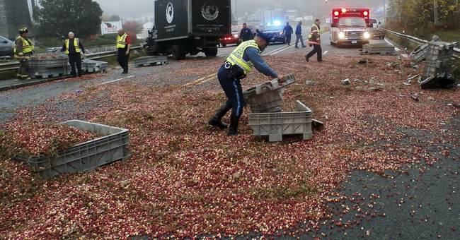 Truck spills cranberries in accident on Cape Cod bridge