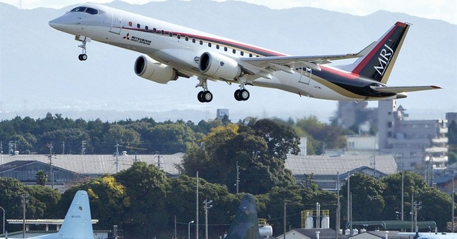 Mitsubishi jet in 1st flight, in step for Japan aviation