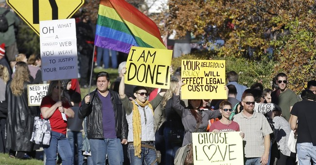 Protest of Mormon LGBT policy draws hundreds