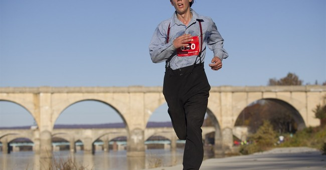 Amish man runs marathon in traditional slacks and suspenders