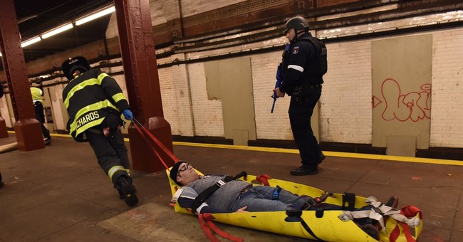NYC emergency responders go through active shooter drill