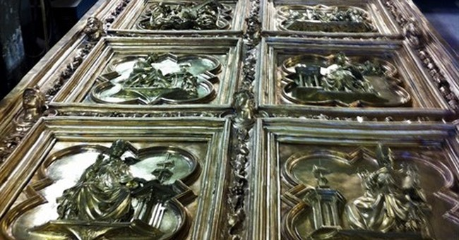Artisans completing replica of Ghiberti's famed bronze doors