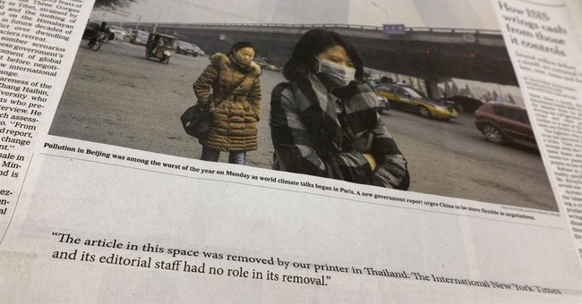 Int'l NY Times' Thai printer refuses to run front-page story