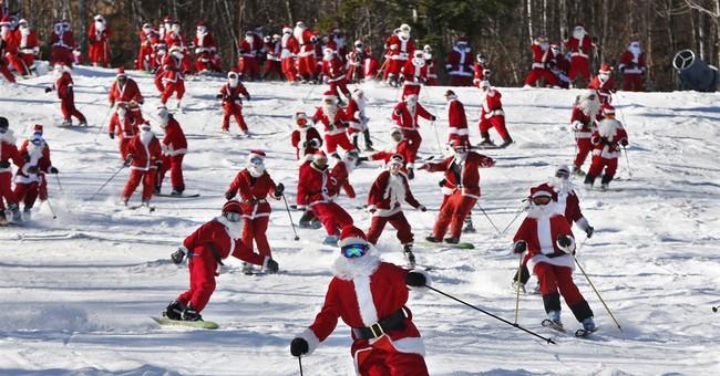 Ho, ho, snow: Santa's helpers get jolly on the slopes