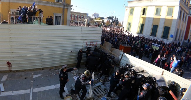 Albanian opposition supporters take to the streets