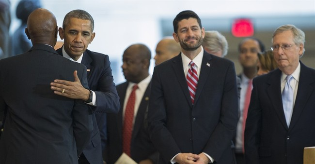 Obama takes veiled swipe at Trump at Capitol Hill ceremony
