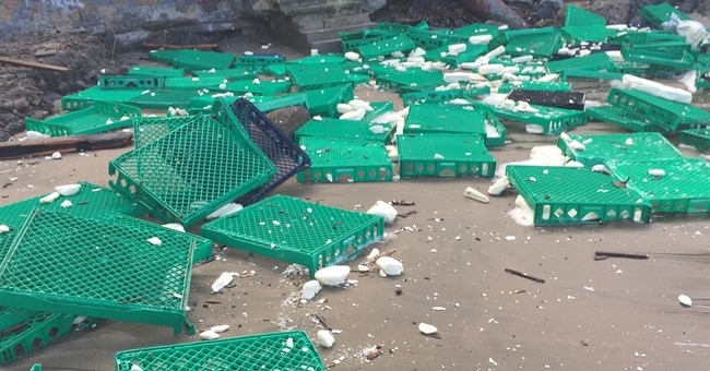 Shipping container debris washes ashore at SF beach