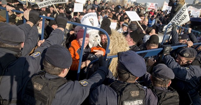 Romanian riot police fire tear gas at protesting shepherds