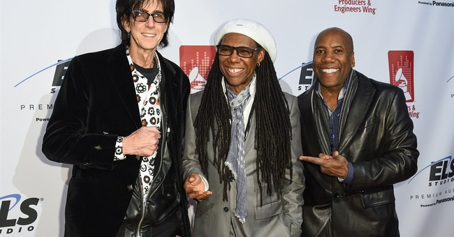 Nile Rodgers jams with Flea at Grammy event