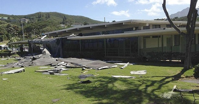 Gusty winds rip off portion of windward Oahu school's roof