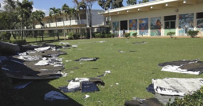 Gusty winds rip off portion of windward Oahu school's roof