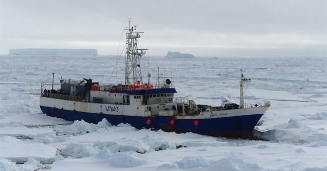 US Coast Guard tows fishing boat stuck in Antarctic ice