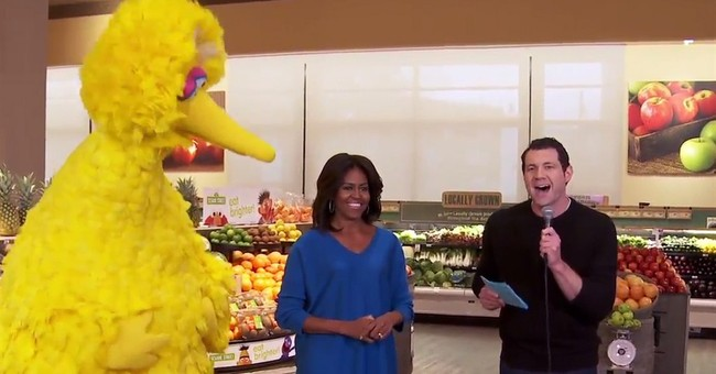 Michelle Obama dances with Big Bird on 'Billy on the Street'