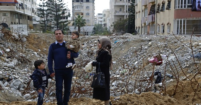 Palestinians lay cornerstone for rebuilding Gaza high-rise