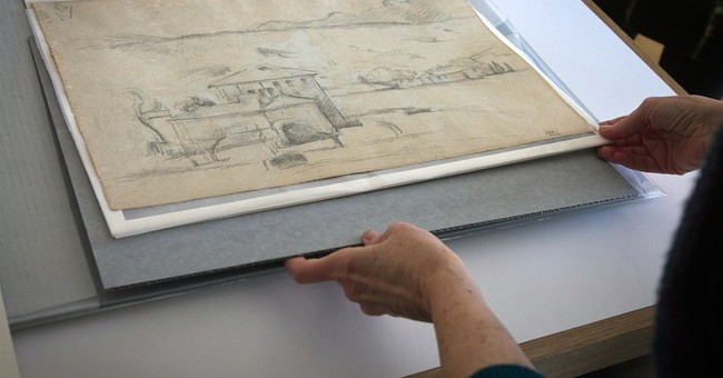 2 Cezanne sketches found on reverse sides of watercolors